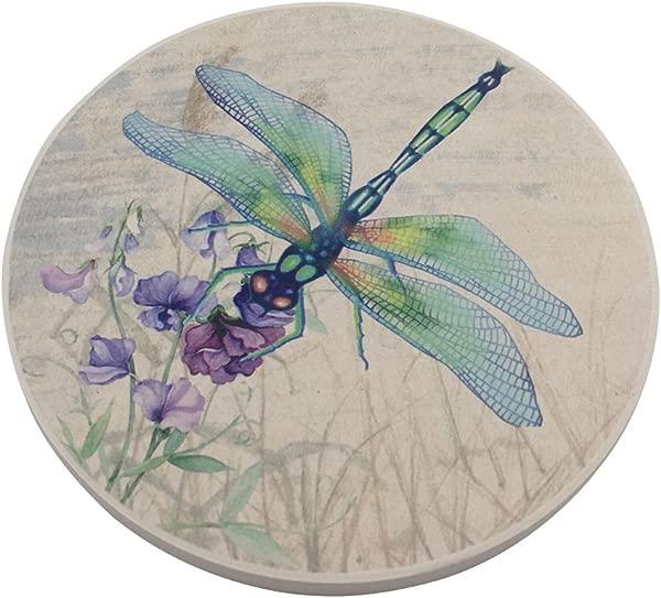 Trinsi Absorbent Ceramic Stone Coasters Dragonfly Set Of 4 Stone Coasters