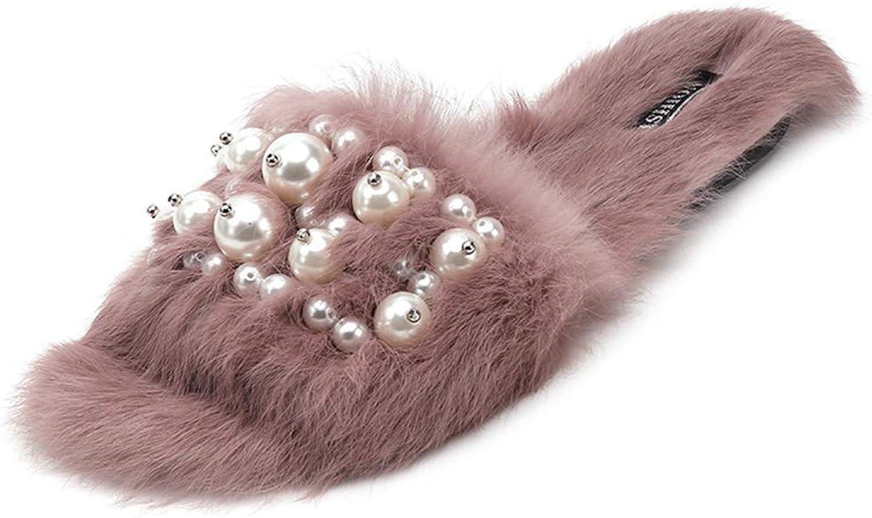 Winter Fluffy Slippers Pearl Furry Fur Flip Flops Summer Home Fur Slides Ladies Women Flat shoes