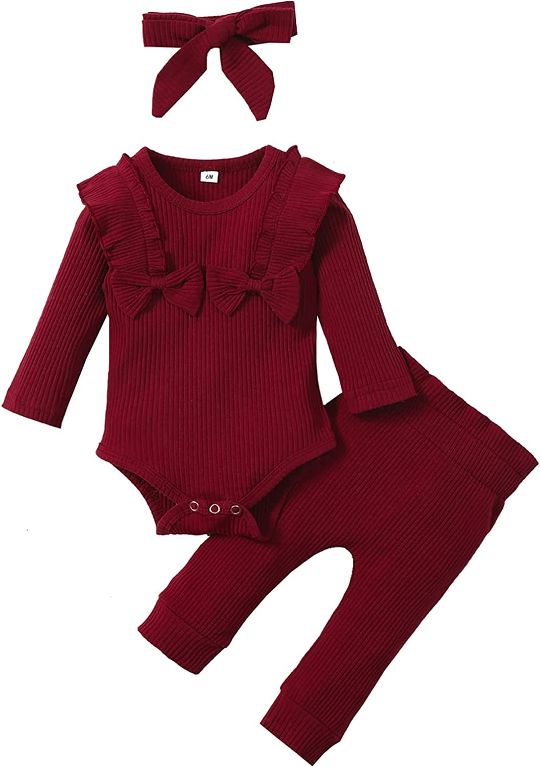 Newborn Infant Baby Girl Clothes Solid Knitted Ribbed Long Sleeve Romper Pants Headband Fall Winter Outfits Set