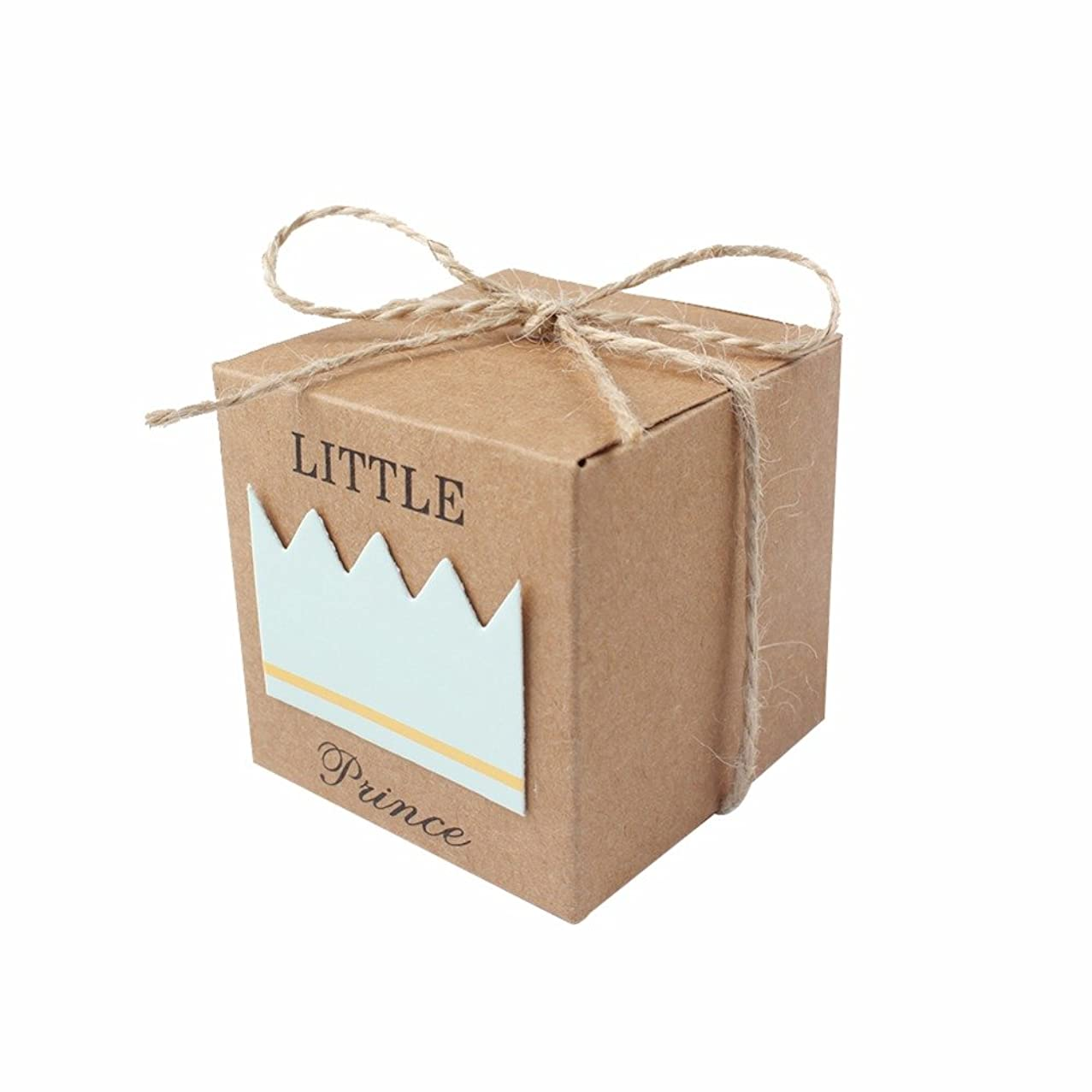 iMagitek 50 Pcs Baby Shower Favor Boxes + 50 Pcs Twine Bow for Little Prince, Candy Box Gift Bag for Baby Shower, Baby Boys Birthday Party