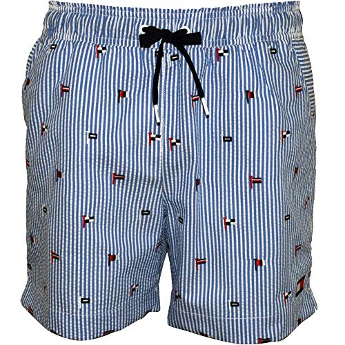 Tommy Hilfiger Bandera Bordado Rayas Seersucker Hombres Shorts De Baño, Azul Grande