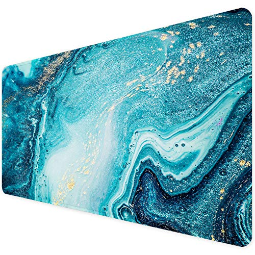 ITNRSIIET [35% Larger] Extended Gaming Mouse Pad with Stitched Edges XXL Mousepad 35.4x15.7in Non-Slip Rubber Base Waterproof Keyboard Pad Mouse Mat for Work Office Home, Blue Marble Gold