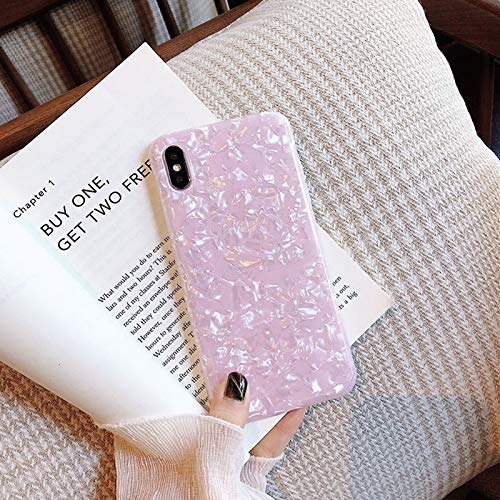 QWP Caja del teléfono del iPhone for 6 7 8 6s Plus X Mármol XR XS MAX Brillante de Bling del Brillo Concha Shell Caja del teléfono for el iPhone Soft XS (Color : Pink, Material : For iPhone X)