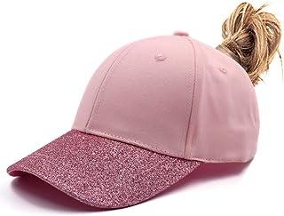 Womens Ponytail Messy HighBuns Mesh Trucker Ponycaps Plain Baseball Cap Dad Hat Adjustable Size,Variy Styles and Colors