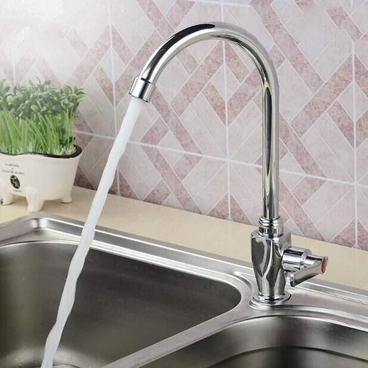 4?Points Single Cold greenical?Sink Sink Single tap?Old gold Cup Quick Open Single Cold Pedestal Basin Faucet Kitchen Sink Faucet Bathroom Sink Faucet