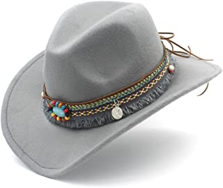 HAOHAO Fashion Women Men Westerly Cowboy Hat for Lady Tassel Felt Cowgirl Sombrero Caps (Color : Gray, Size : 56-58CM)