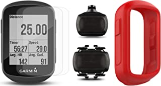Garmin Edge 130 Bundle   with PlayBetter Silicone Case and Screen Protectors   Compact & Easy to Use   Bike GPS Computer (Speed and Cadence Bundle, Red Case)