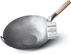 Flat Bottom Wok, Traditional Hand Hammered Wok, 14 Inch Carbon Steel Chinese Pow Wok by Mammafong