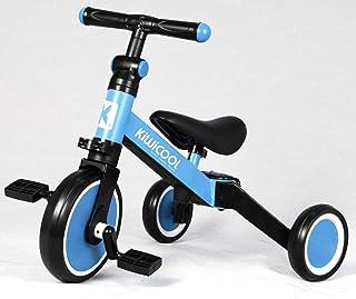دراجة ثلاثية العجلات للأطفال 3 في 1 من Kiwicool للأطفال بعمر 1.5-4 سنوات دراجة ثلاثية العجلات للأولاد والبنات 3 عجلات (أزرق)