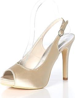 62380fd22e73e0 Eleboeb Chaussures de Mariage pour Femmes Pompes Satin Boucle Soirée Peep  Toe Eté Mariée DF-