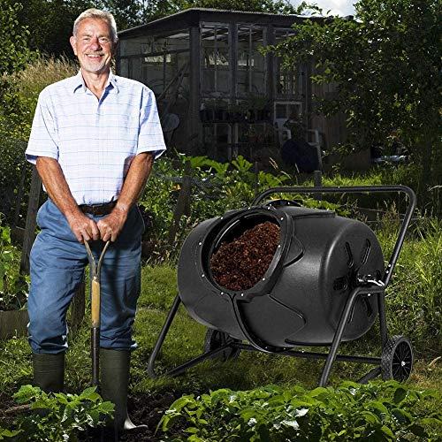 FMXYMC Großer Tumbling-Komposter, um 360 ° drehbarer Kompost-Tumbler-Behälter, Garten-Abfallbehälter mit Stahlständer, schnelle Kompostierung mit Entlüftungslöchern
