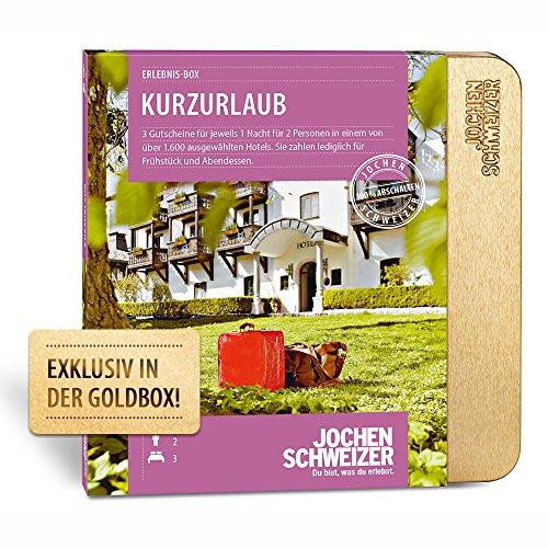 Jochen Schweizer Erlebnis-Box Kurzurlaub für 2, Geschenk für Paare exklusiv in der Goldbox, 3 Übernachtungen