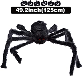 VeMee Halloween Spider Decoration Fake Realistic Hairy Scary Spider Giant 50inch Haunted House Prop Black Spider Plush Prank Toy Halloween Indoor Outdoor Decoration (50inch, Black1)