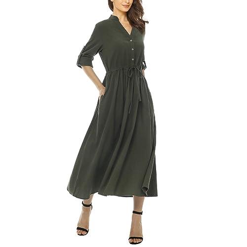 a4d5f73626 Mixfeer Womens Loose Casual Linen Shirt Dress Roll Up Sleeve Long Maxi Dress