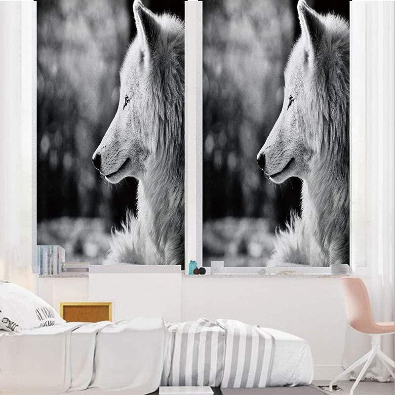 Black And White Decorations 3D No Glue Static Decorative Privacy Window Films Wolf Profile Portrait In Nature Wildlife Carnivore Animal Decorative 24 X36 For Home Office Decor Black White
