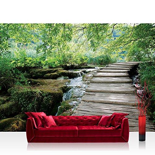 Fototapete 254x184 cm PREMIUM Wand Foto Tapete Wand Bild Papiertapete - Landschaft Tapete Wald Bäume Wasser Bach Holz grün - no. 3065