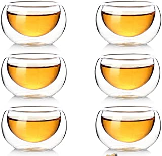 FHY Clear Double Walled Glass Coffee Cups Insulated Glass Tea Cup Heat Resistant Double Layer Tea Cup 50ml Set of 10