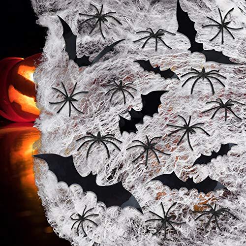Halloween Spinnennetz Stretch Spider Web Halloween Prop Decor Indoor & Outdoor Scary Party Spooky Spinnennetz mit 30 Pcs Spinnen und 2 Fledermaus saufkleber für Halloween Spukhaus Horror Decoration
