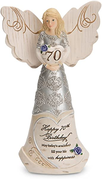 Pavilion Gift Company 82416 Elements 70th Birthday May Today S Wishes Fill Your Life With Happiness 6 Inch Angel Figurine