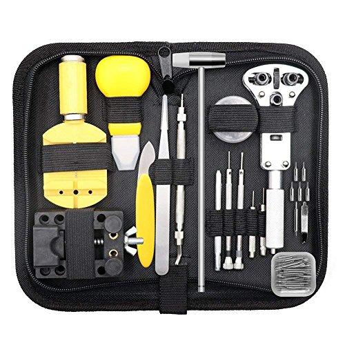 YeBetter Kit de reparación de relojes, juego de herramientas profesional con barra de resorte, abridor de casos, correa de reloj, juego de herramientas con estuche de transporte