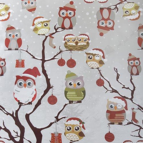 Gris búhos de Papá Noel Navidad mantel de hule vinilo PVC 140cm x 200cm
