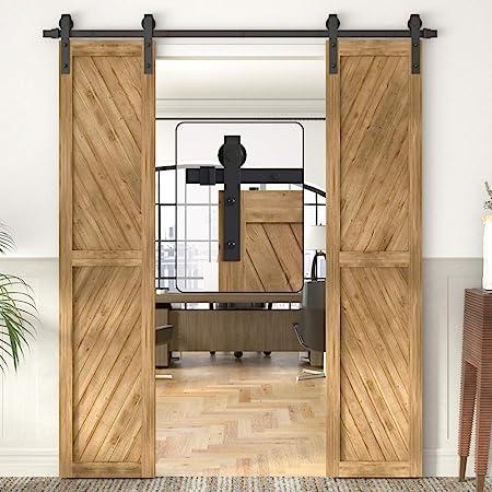 Amazon Com Winsoon 5 18ft Sliding Barn Wood Door Hardware Cabinet Closet Kit Antique Style For Double Doors Black Surface 6ft 72 2 Doors Track Kit Home Improvement
