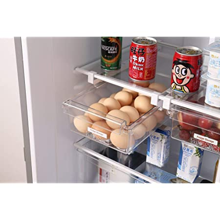 Refrigerator Egg Storage Box Drawer Type Fridge Organizer Fridge Shelf Holder Refrigerator Pull Out Bin Kitchen Organizer Drawer Fridge Egg Box Space Saver Stackable Food Storage Container