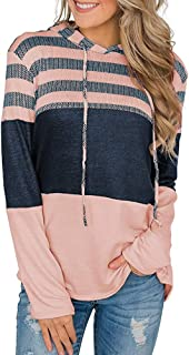 ECHOINE Womens Drawstring Pullover Sweatshirt Hoodie - Casual Color Block Patchwork Striped Long Sleeve Tunic Shirt
