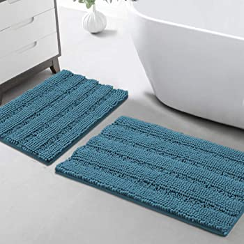Brillante Bath /& Pedestal Mat Antideslizante Suave Extra Absorbente Baño Alfombras de 2 piezas