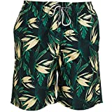 Nvshiyk Bañador de Secado rápido Pantalones de Playa Secado rápido Seaside 5-Point Plus Tamaño Pantalones de Flores Pantalones para Hombres para Ropa de Vacaciones (Color : Black, Size : 3XL)