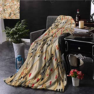 SSKJTC Casino Throw Blanket for Couch Old Vintage Playing Card Bedroom Dorm Sofa Baby Cot Beach W84 xL70