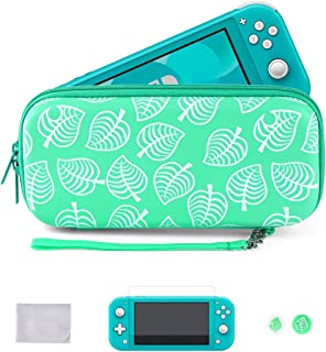 Tscope Carrying Case for Nintendo Switch Lite, Animal Crossing New Leaves Storage Portable Protective Bag with Tempered Gl...