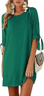 Kidsform Women Mini Dress Summer Solid/Floral Crew Neck Tunic Sundress Self-tie Half Sleeves T Shirt Dresses
