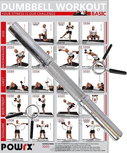 POWRX Barre d'haltères individuellement | Diamètre 30mm | Barre chromée et moletée pour la musculation SAFE Fitness | Variantes de longueur 35cm 38cm 40cm (40 x 3 cm)