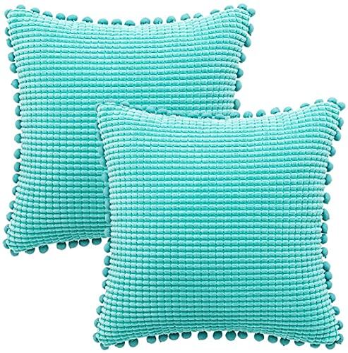 GaoTuo 2 Piezas Fundas de Cojín de Color sólido Funda de Almohada Decorativa Cojines Fundas con Cremallera Invisible para Sala de Estar Sofá Camas Jardín Dormitorio(Lago Azul,)