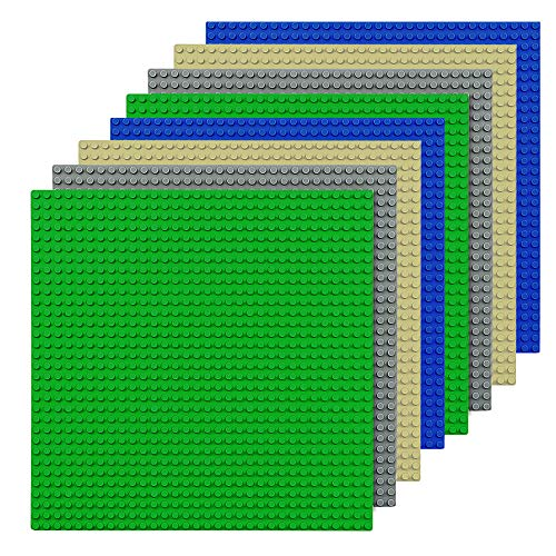 CMASTER Classic Bausteine Grundplatte - 10 x 10 (25,5 x 25,5cm) - 8Stück - Blau, Grau,Grün &Sand- 100 %...