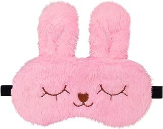 Jenna™ Cute Fur Sleeping Eye Shade Mask Cover for Insomnia, Meditation, Puffy Eyes and Dark Circles Bunny Pink