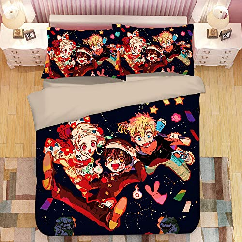 KYNWCLRW Super King Size Duvet Set, 3D Digital Print Hanako-Kun Bedding Double, Upgrade Polyester-Cotton Fade Stain Resistantquilt Cover Sets, For Adults (150X200Cm)