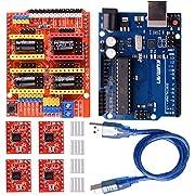 kuman CNC Engraver Shield V3.0 Expansion Board +4pcs A4988 Stepper Motor Driver with Heatsink Kits+ R3 Board Kompatibel mit Arduino IDE K75