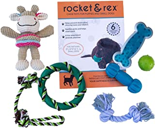 rocket & rex Puppy, Small/Medium Dog Breed Chew Toys. Soothes Gums and Teething Pain, Cleans Teeth, Lessens Destructive Chewing and Anxiety. Durable, Healthy, All-Natural Rubber and Cotton. 6-Pack.