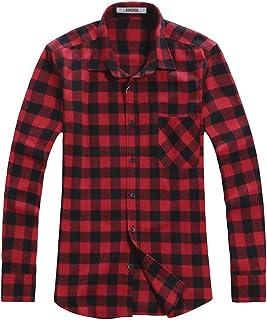 OCHENTA Men's Button Down Plaid Flannel Shirt, Long Sleeve Casual Tops