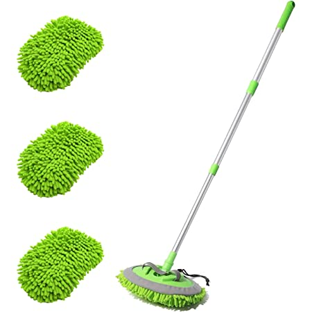 "HOUSE DAY Car Wash Brush with 45"" Long Handle & 3pcs Car Wash Mitt Scratch Free, Soft Scrub Car Wash Brush, Car Wash Mops with Flexible Rotatory Extension Pole - Green"