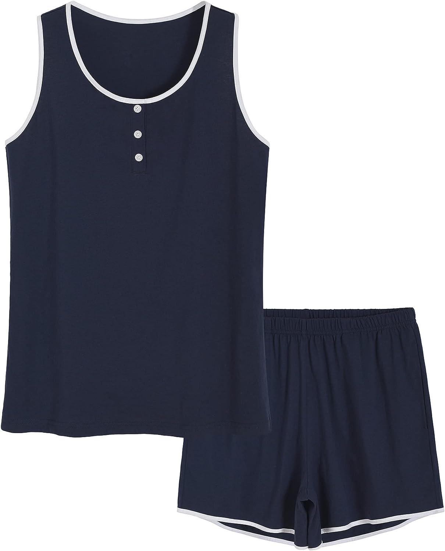 Latuza Women's Cotton Loungewear Set Sleep Tank Top with Pajama Shorts