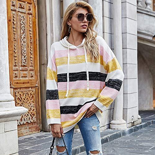 Suéter de Punto con Capucha con cordón Ropa de Mujer de Invierno Suéter de Costura a Rayas de Color Degradado de Europa y América para Mujer