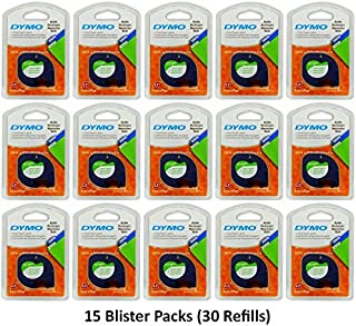 "Dymo 10697 Self-Adhesive White Paper Labeling Tape for LetraTag (LT) Label Makers; 15 Blister Packs (30 Refills); Each Blister Pack with Hang Hole contains Two 1/2"" Wide x 13ft Long (12mm x 4m) Refill Rolls; Black Print on White paper tape"