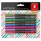 Rotuladores de tinta para cristal Arteza - Set de 8 marcadores metalicos para vidrio