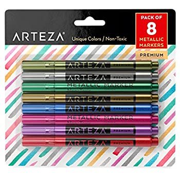 Arteza Wine Glass Markers Set of 8 Metallic Pens Quick-Drying Erasable Markers for Wine Glasses Glass Boards and Other Surfaces For Decorating Brainstorming and Labelling