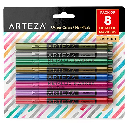 Arteza Wine Glass Markers, Set of 8 Metallic Pens, Quick-Drying Erasable Markers for Wine Glasses,...