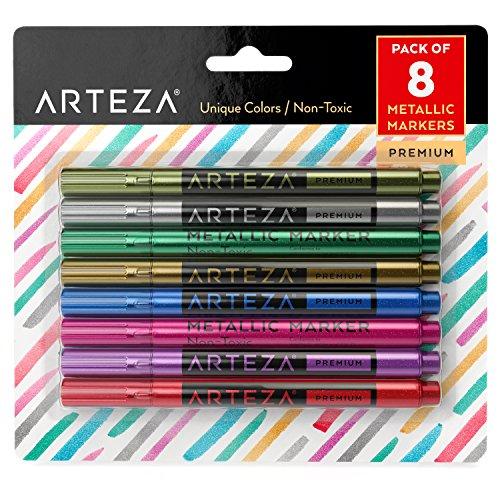 Arteza Weinglas Marker, Weinglasschmuck, Glas und Pflege-Pens (Set mit 8 Stück)