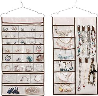 Porte-bijoux Organisateur de bijoux suspendu avec 38 poches et 7 boucles et crochets, rangement pour placard pour bijoux, ...